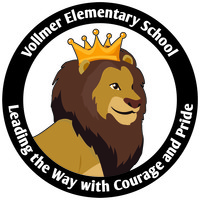 Vollmer Elementary School Logo: Leading the Way with courage and Pride (Lion wearing a golden crown)