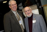 Dr. Ken Graham poses for a photo with Gene Edwards, Class of 1948, the first Rush-Henrietta class.