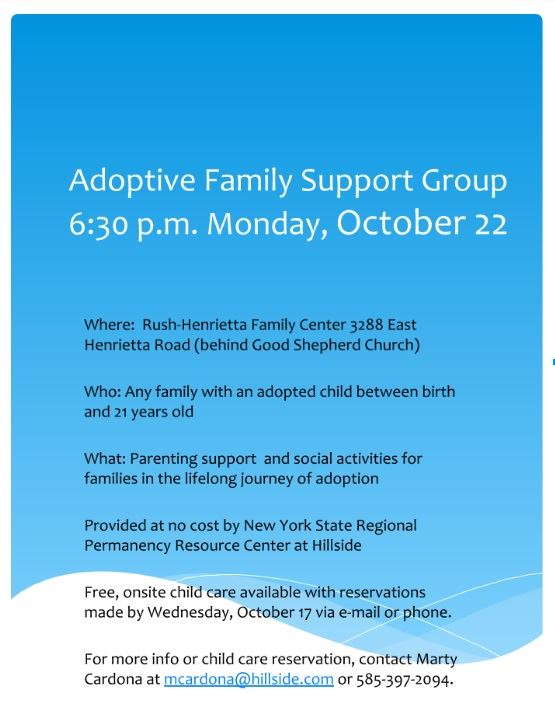 Adoptive Family Support Group Will Meet Monday, Oct. 22
