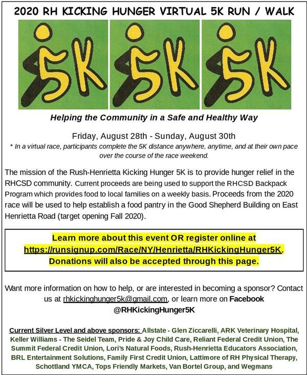 Kicking Hunger 5K August 28-30