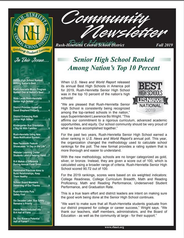 Rush-Henrietta Fall 2019 Community Newsletter Available Online