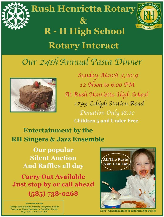 Rush-Henrietta Rotary and SHS Interact Club Pasta Dinner