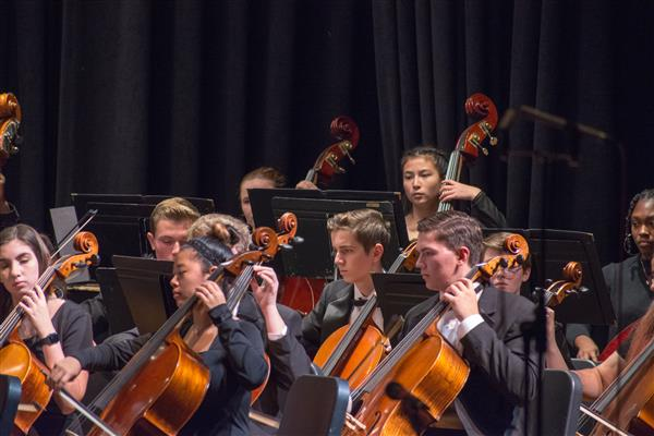 Orchestra students playing